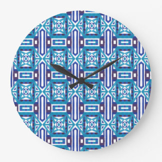 Geometric Moroccan Watercolor Seamless Pattern 2 Large Clock