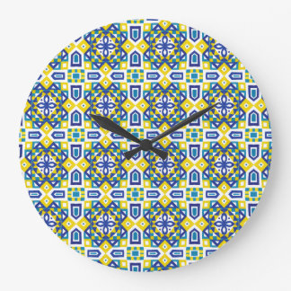 Geometric Moroccan Watercolor Seamless Pattern 3 Large Clock