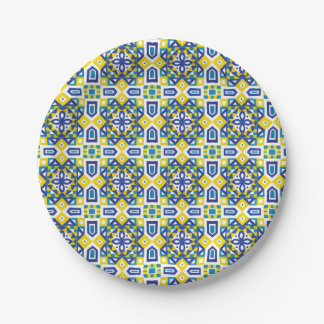 Geometric Moroccan Watercolor Seamless Pattern 3 Paper Plate