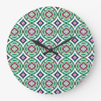 Geometric Moroccan Watercolor Seamless Pattern 4 Large Clock