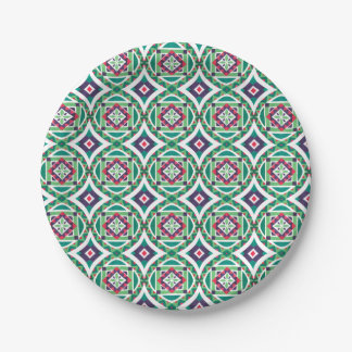 Geometric Moroccan Watercolor Seamless Pattern 4 Paper Plate