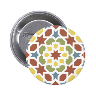 Geometric mosaic of arabesque of Morocco Pinback Button