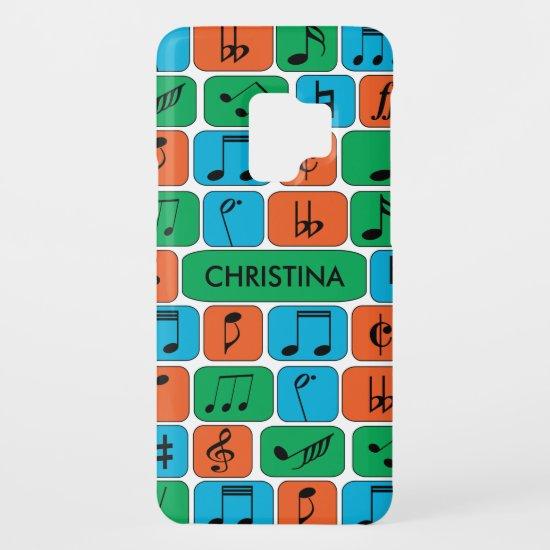Geometric Music Notes Blue Green Orange Case-Mate Samsung Galaxy S9 Case