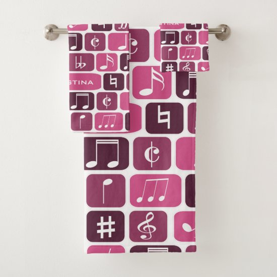 Geometric Music Notes Pink Bath Towel Set