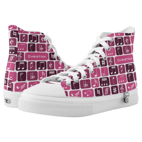 Geometric Music Notes Pink High-Top Sneakers