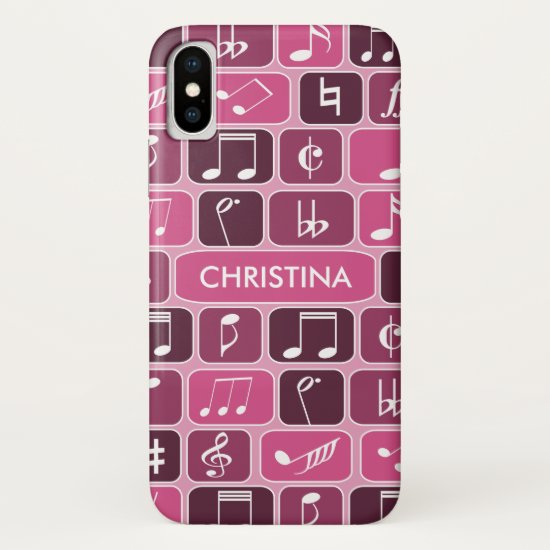 Geometric Music Notes Pink iPhone XS Case