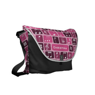 Geometric Music Notes Pink Courier Bag