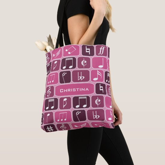Geometric Music Notes Pink Tote Bag