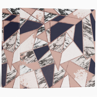 Geometric Navy Blue Peach Marble and Rose Gold Binder
