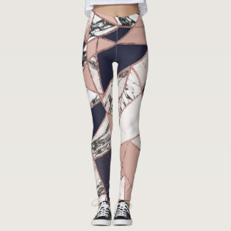 Geometric Navy Blue Peach Marble and Rose Gold Leggings