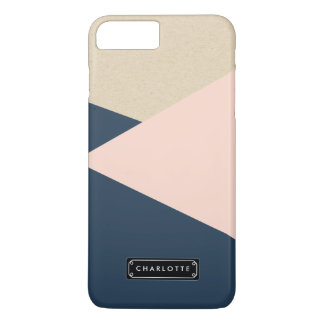 Geometric Navy & Blush Pink Personalized iPhone 7 Plus Case