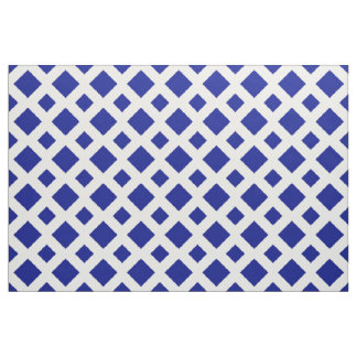 Geometric Navy Diamonds on White Fabric