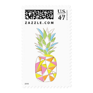 Geometric neon pineapple postage stamp