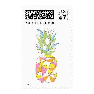 Geometric neon pineapple postage stamp