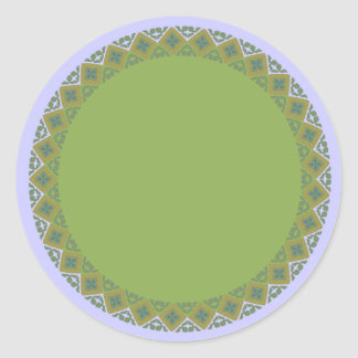 Geometric Olive Green Border Blank Template Label Classic Round Sticker