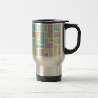 Geometric Ombre Rainbow Colorblock Travel Mug