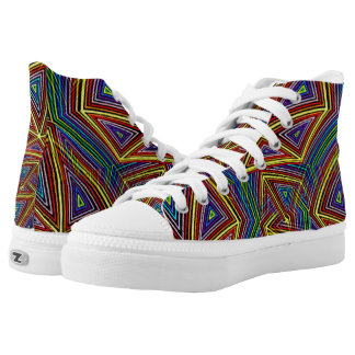 Geometric Optical Illusion Rainbow Triangles High-Top Sneakers