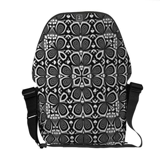 Geometric Optical Mono Art Rickshaw Messenger Bag