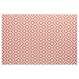 Geometric Orange and White Meander Fabric