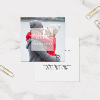 Geometric Overlay Minimal Chic Photographer Square Business Card