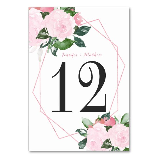 Geometric Pale Pink Roses Green Leaves Table | Table Number
