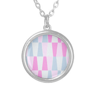 geometric pastels silver plated necklace