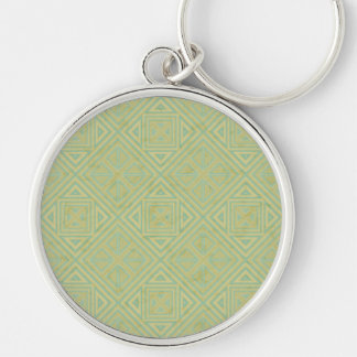 GEOMETRIC PATTERN 1 Silver-Colored ROUND KEYCHAIN