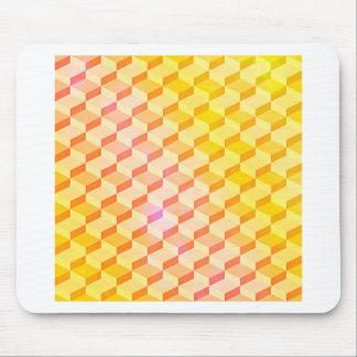 Geometric Pattern 3D Blocks - Orange/Yellow Mouse Pad