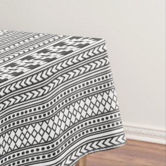 Geometric Pattern Aztec Design Black White Tablecloth