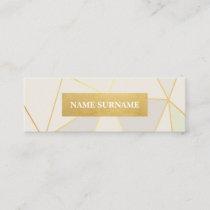 Geometric Pattern Beige Gold Mini Business Card