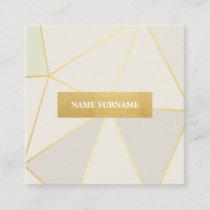 Geometric Pattern Beige Gold Square Business Card