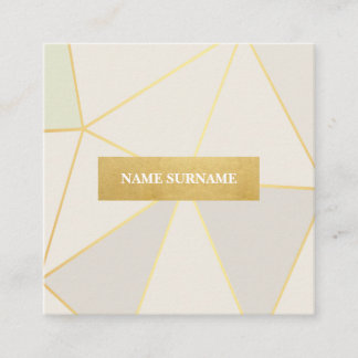 Geometric Pattern Beige Gold Square Business Card