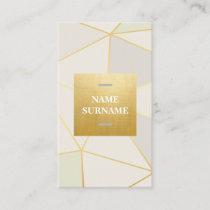 Geometric Pattern BeigeGold Vertical Business Card