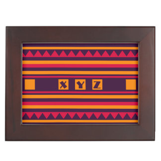 Geometric Pattern custom monogram keepsake box