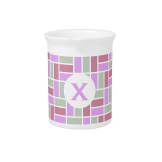 Geometric Pattern custom monogram pitcher