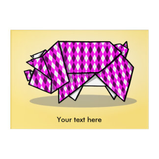 Geometric Pattern Cute Pink Origami Pig Acrylic Print