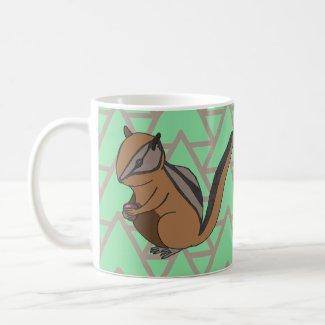 Geometric Pattern Cute Woodland Chipmunk Coffee Mug