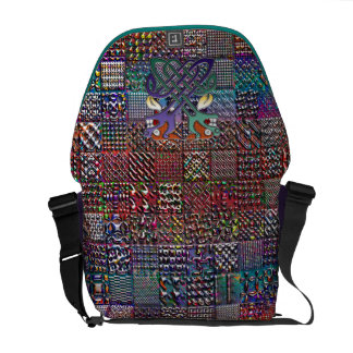 Geometric Pattern Digital Quilt Modern Retro Art Messenger Bag