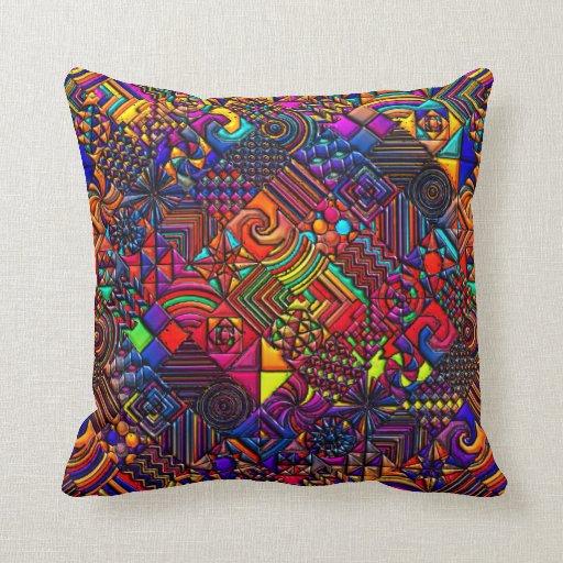 Modern Quilted Pillows Pattern : Geometric Pattern Digital Quilt Modern Retro Art Pillow Zazzle