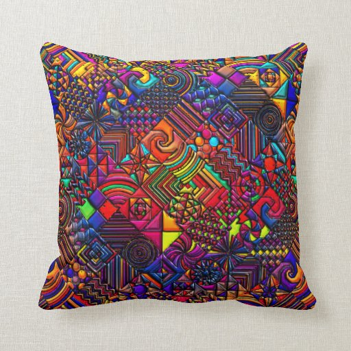 Modern Retro Pillows : Geometric Pattern Digital Quilt Modern Retro Art Throw Pillow Zazzle