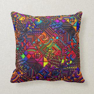 Geometric Pattern Digital Quilt Modern Retro Art Throw Pillow