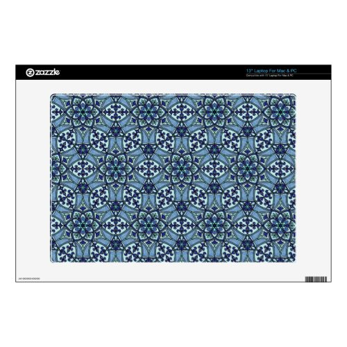 Geometric Pattern Fleur de Lis in Blue 13&quot&#x3B; Laptop Decal