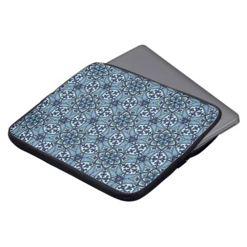 Geometric Pattern Fleur de Lis in Blue Computer Sleeve