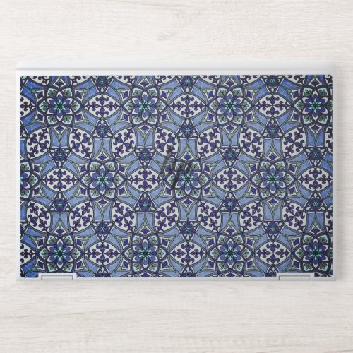 Geometric Pattern Fleur de Lis in Blue HP Laptop Skin