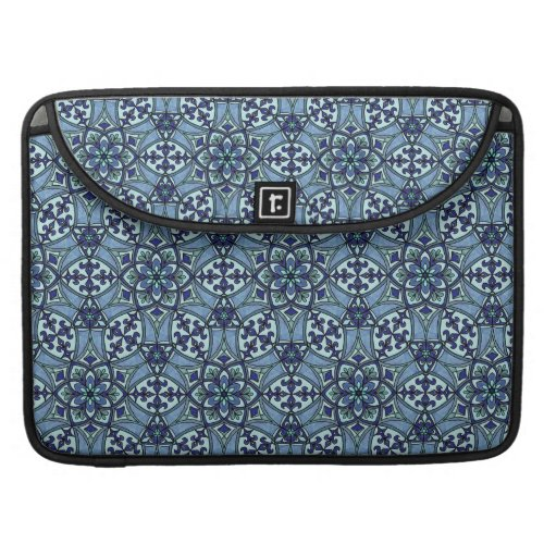 Geometric Pattern Fleur de Lis in Blue MacBook Pro Sleeve