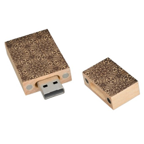 Geometric Pattern Fleur de Lis in Brown Wood Flash Drive