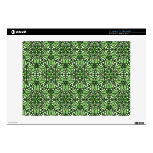 Geometric Pattern Fleur de Lis in Green 13&quot&#x3B; Laptop Decal