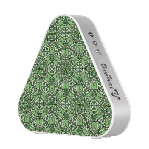 Geometric Pattern Fleur de Lis in Green Bluetooth Speaker