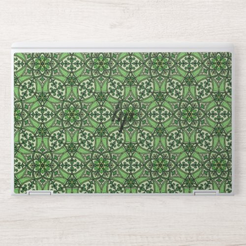 Geometric Pattern Fleur de Lis in Green HP Laptop Skin