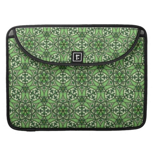 Geometric Pattern Fleur de Lis in Green MacBook Pro Sleeve